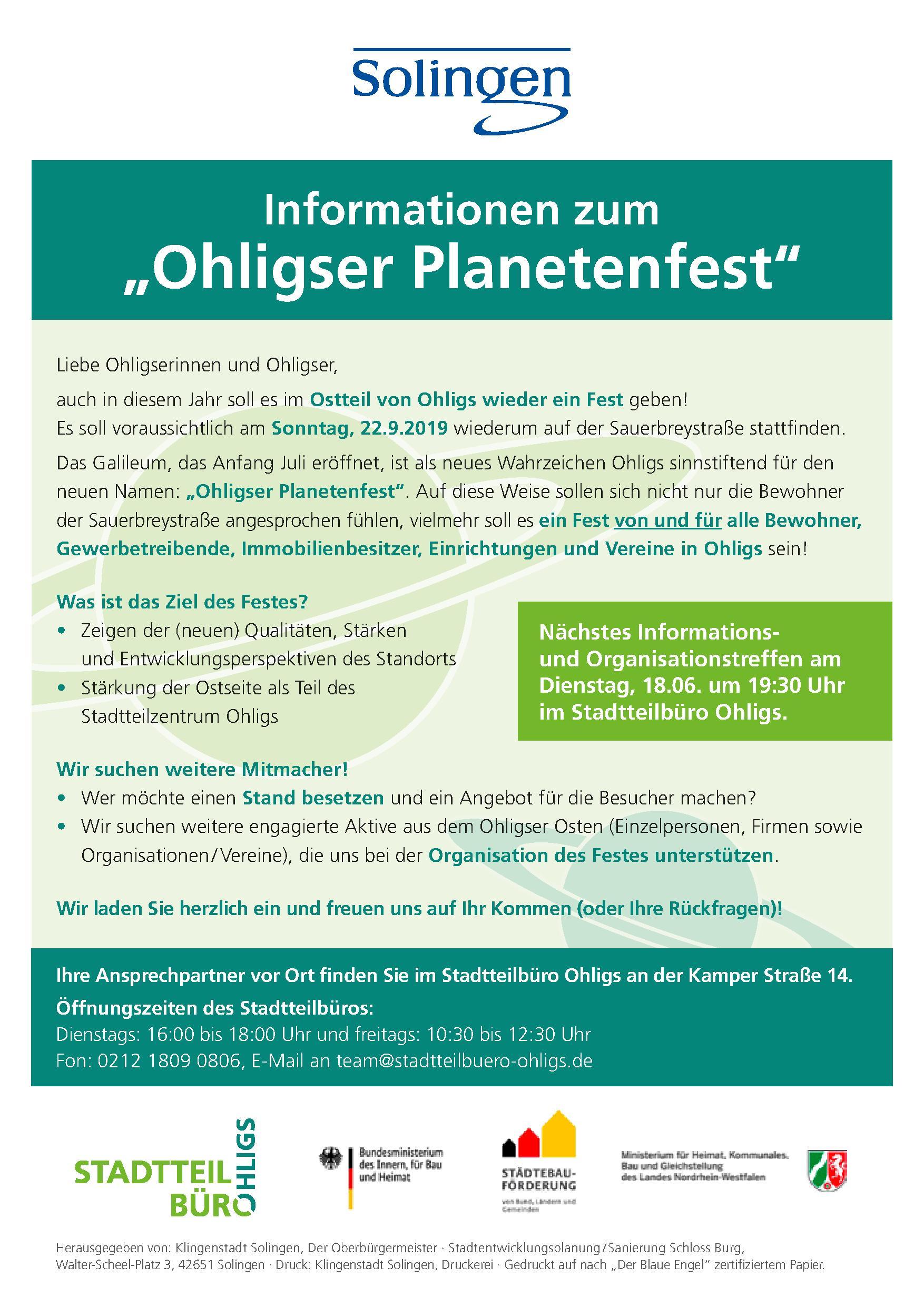 """""""Ohligser Planetenfest"""" – 3. Orga-Treffen am 18.6.19 um 19.30 Uhr im Stadtteilbüro"""