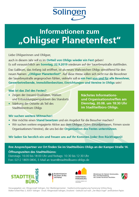 Orga-Treff Ohligser Planetenfest am 20. August um 18.30 Uhr im Stadtteilbüro. Weiterhin Standbetreiber gesucht