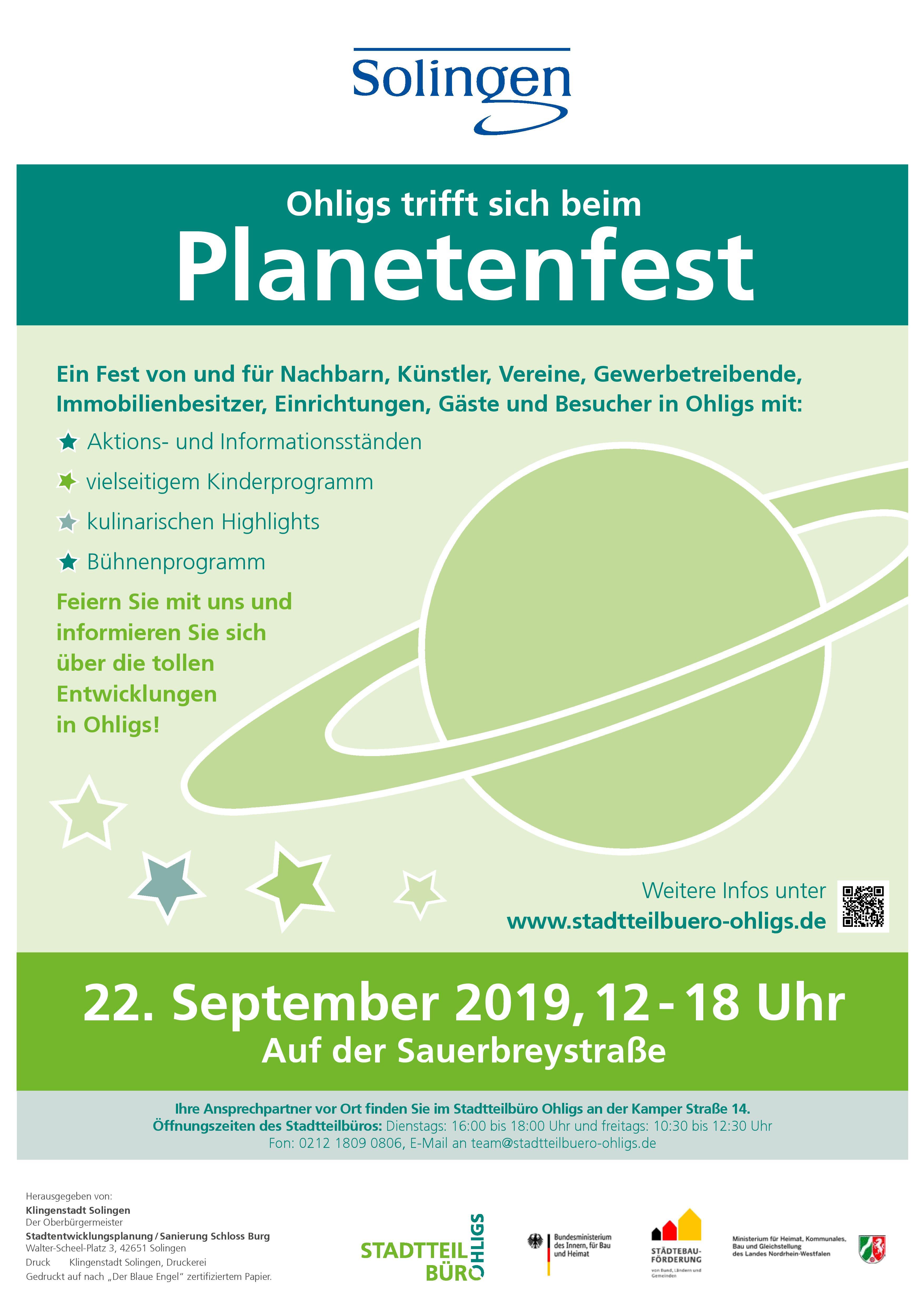 Ohligser Planetenfest am 22. September von 12 – 18 Uhr in der Sauerbreystraße